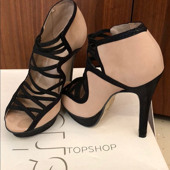 648a5ef970a TOPSHOP suede nude heels with black snakeskin